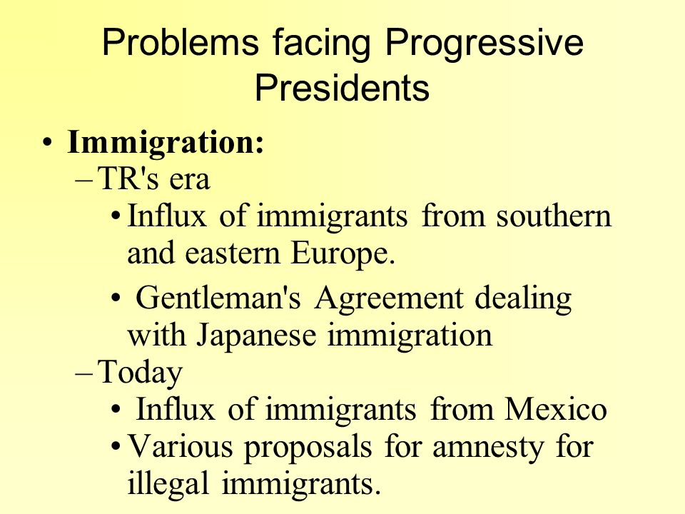 Problems facing Progressive Presidents