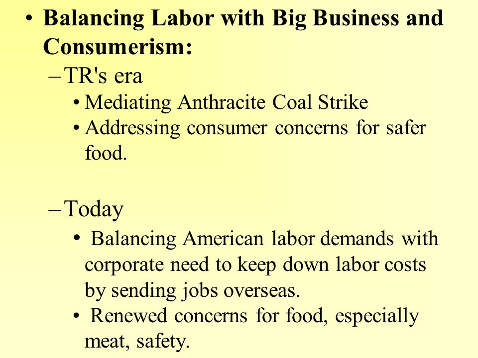 Balancing Labor with Big Business and Consumerism: TR s era