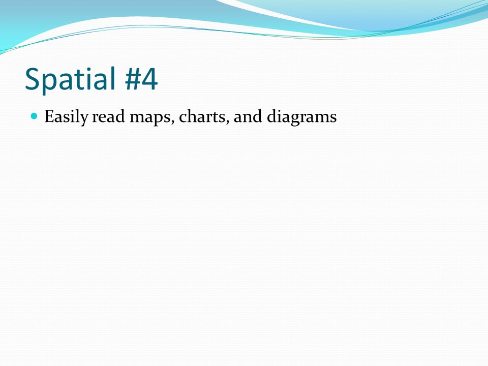 Spatial #4 Easily read maps, charts, and diagrams