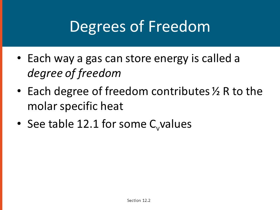 Degrees of Freedom Each way a gas can store energy is called a degree of freedom. Each degree of freedom contributes ½ R to the molar specific heat.