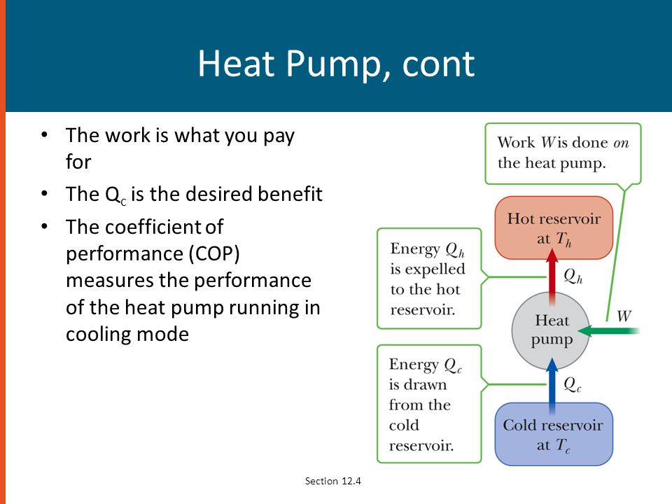 Heat Pump, cont The work is what you pay for