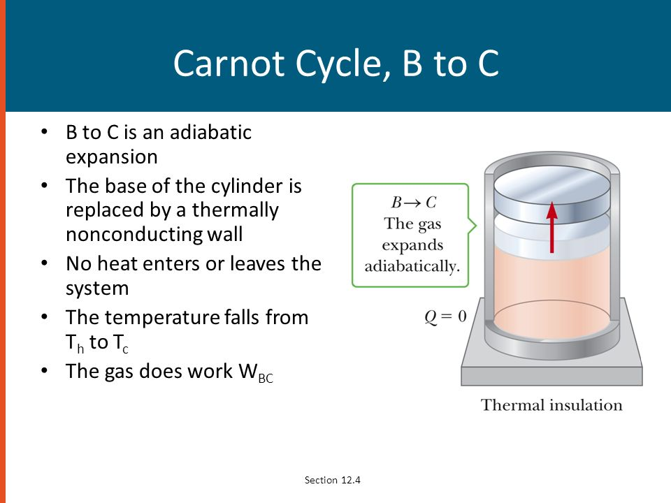 Carnot Cycle, B to C B to C is an adiabatic expansion