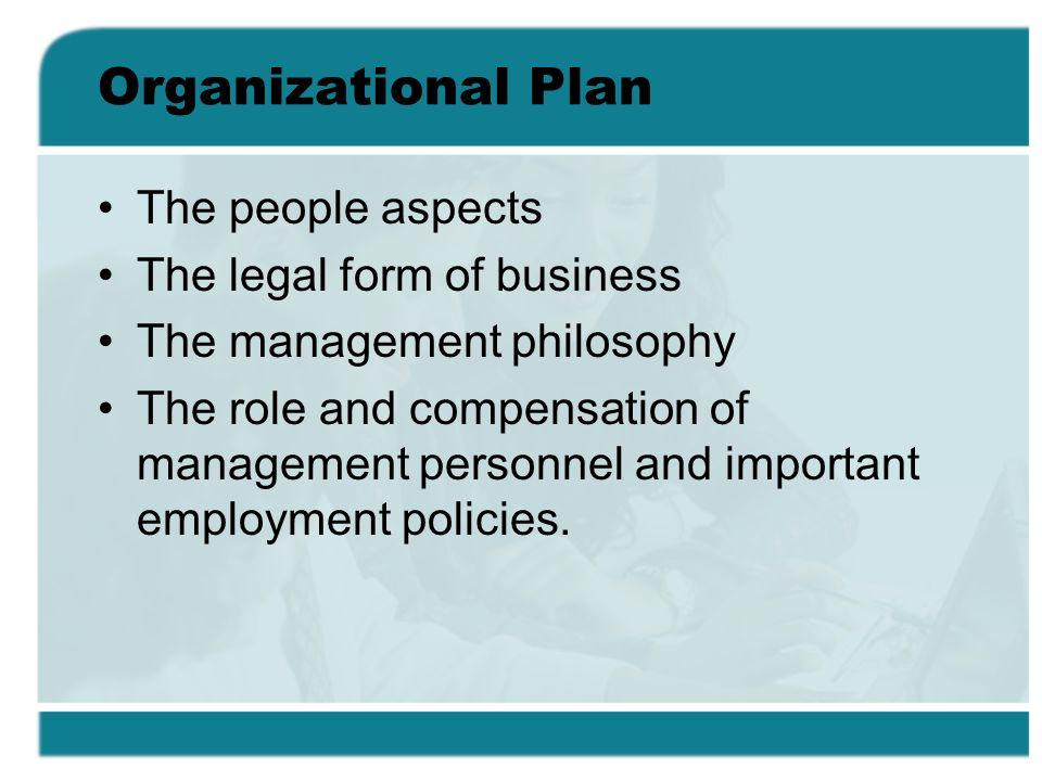 Organizational Plan The people aspects The legal form of business