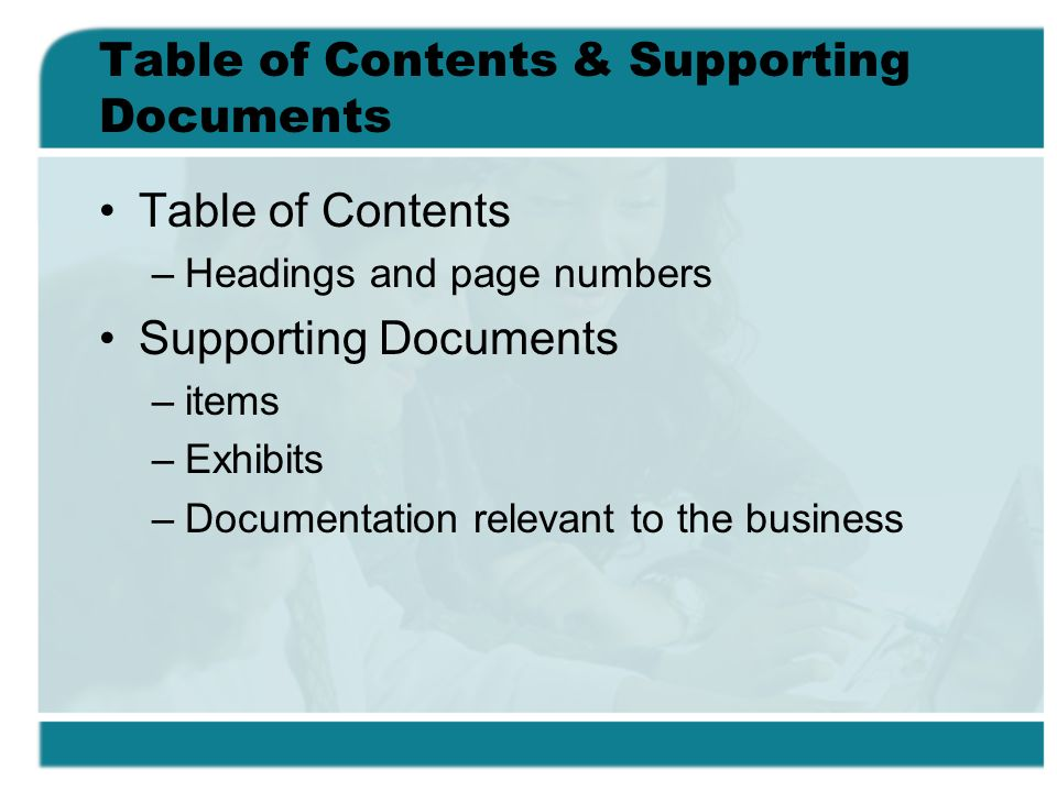 Table of Contents & Supporting Documents