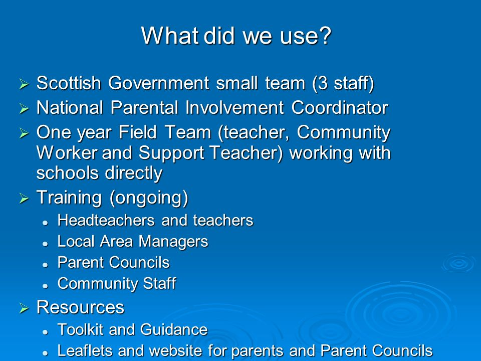 What did we use Scottish Government small team (3 staff)