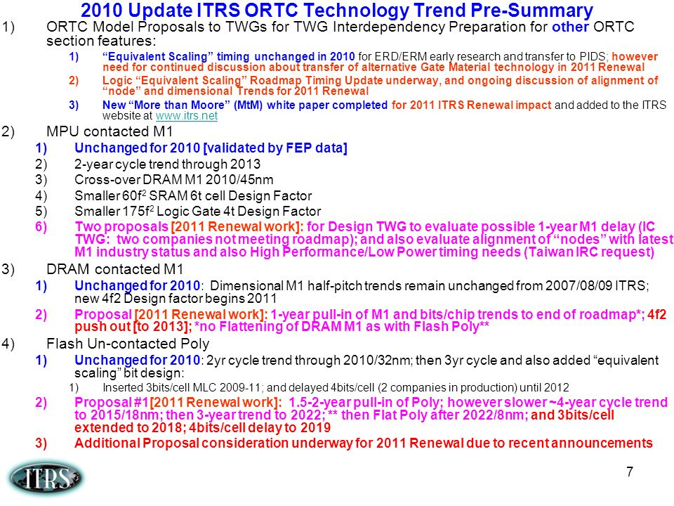 2010 Update ITRS ORTC Technology Trend Pre-Summary