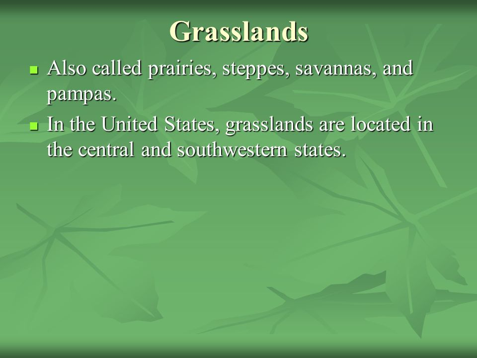 Grasslands Also called prairies, steppes, savannas, and pampas.