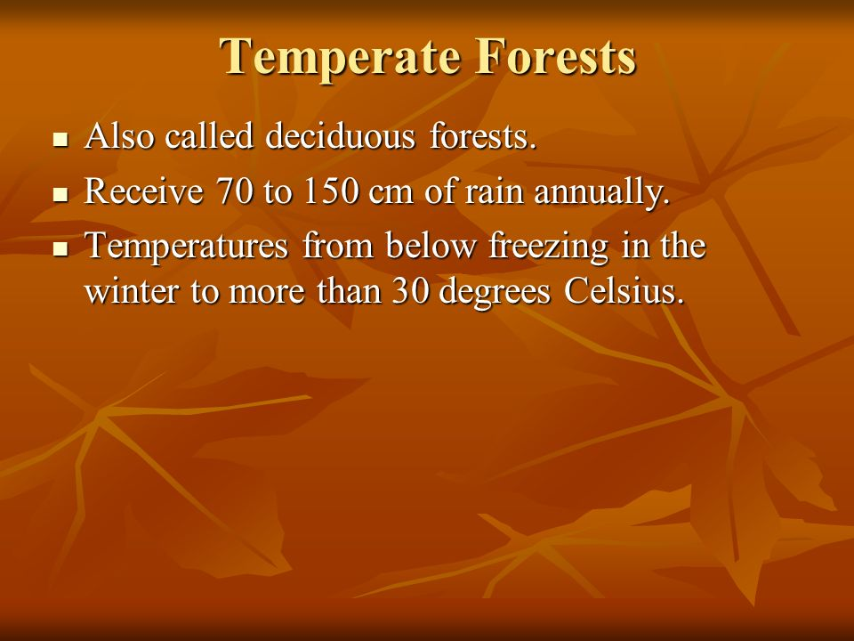 Temperate Forests Also called deciduous forests.