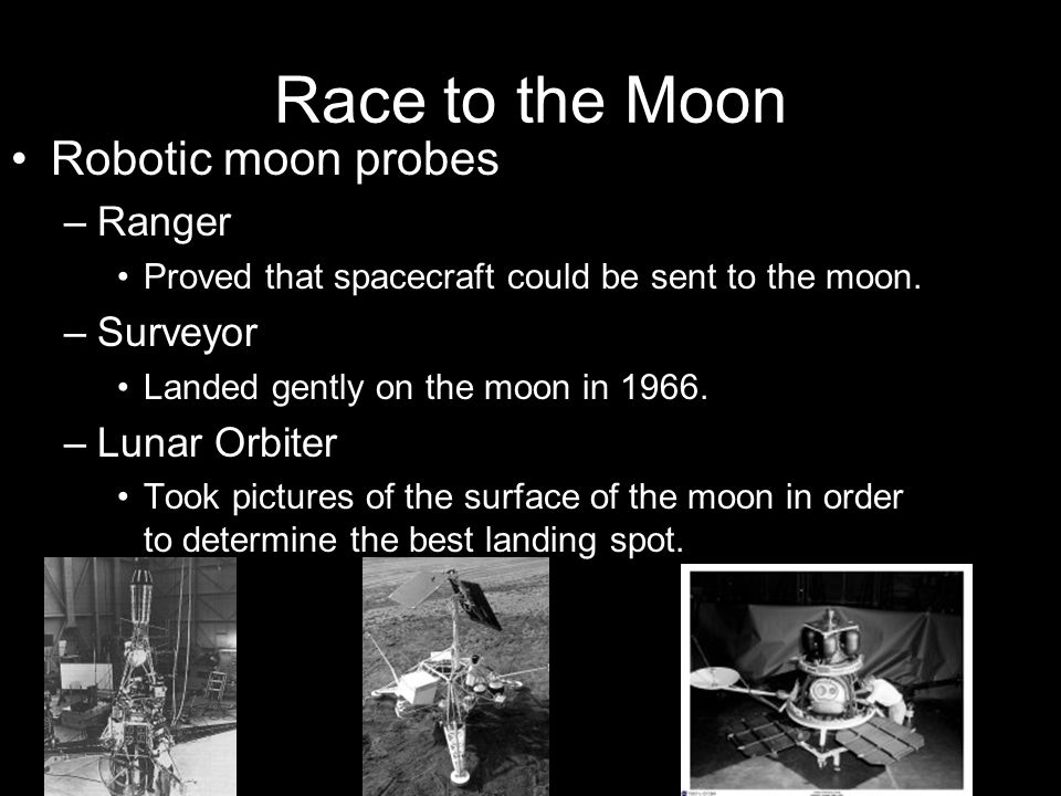 Race to the Moon Robotic moon probes Ranger Surveyor Lunar Orbiter