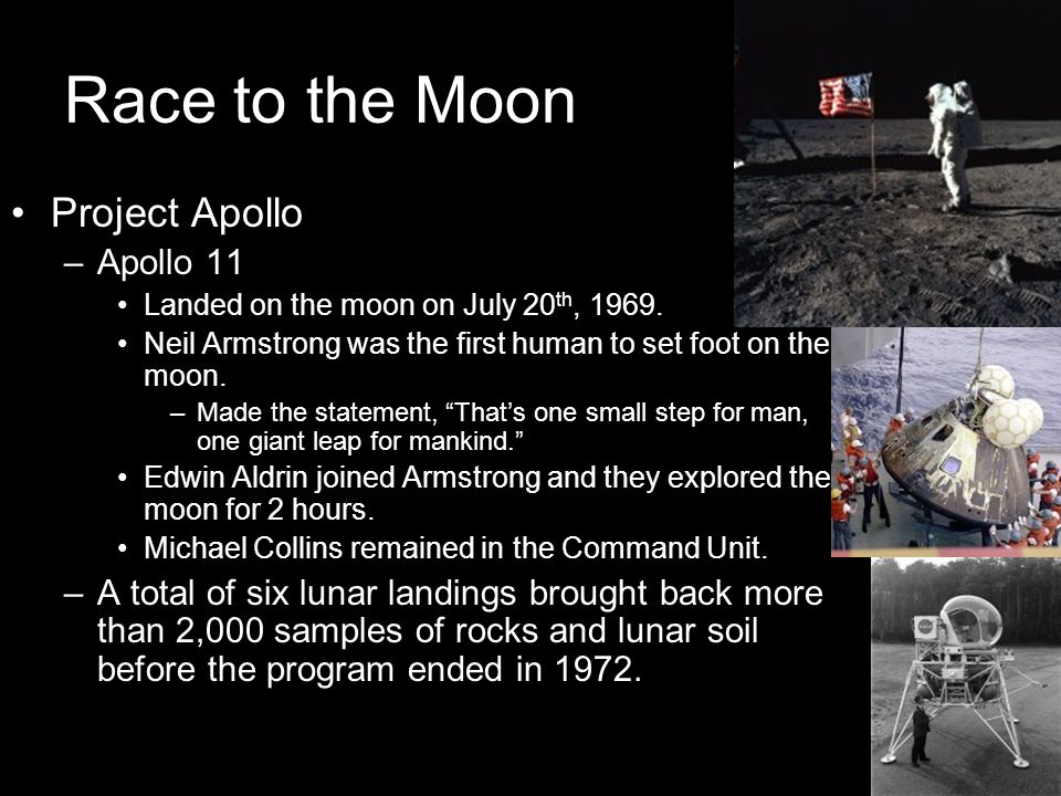 Race to the Moon Project Apollo Apollo 11