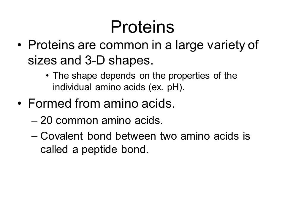 Proteins Proteins are common in a large variety of sizes and 3-D shapes. The shape depends on the properties of the individual amino acids (ex. pH).