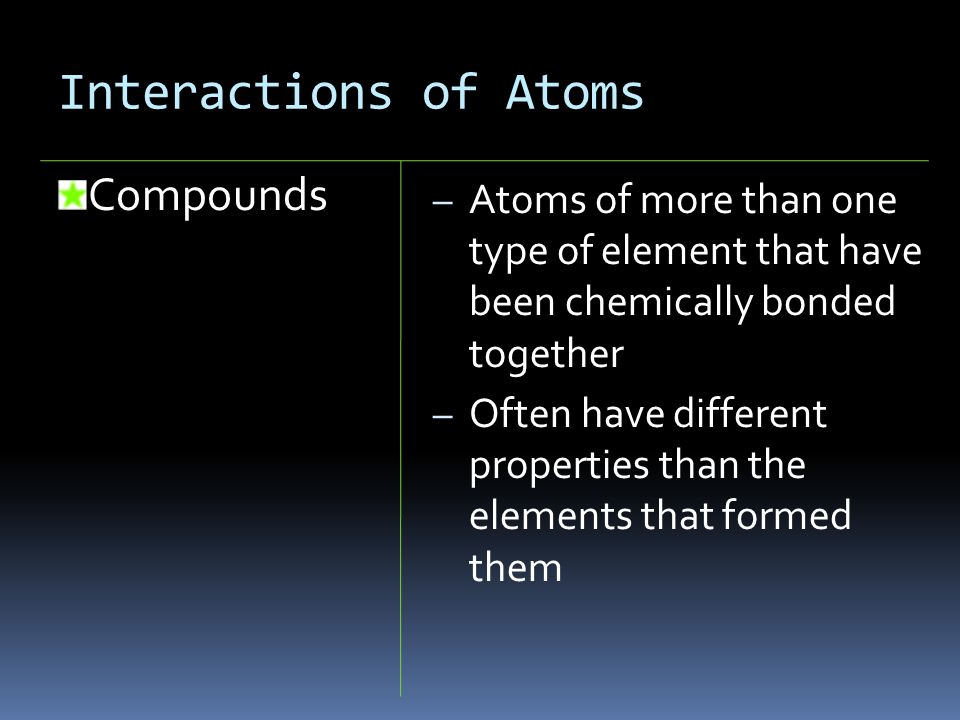 Interactions of Atoms Compounds