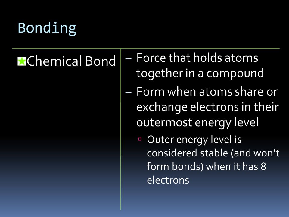 Bonding Chemical Bond Force that holds atoms together in a compound