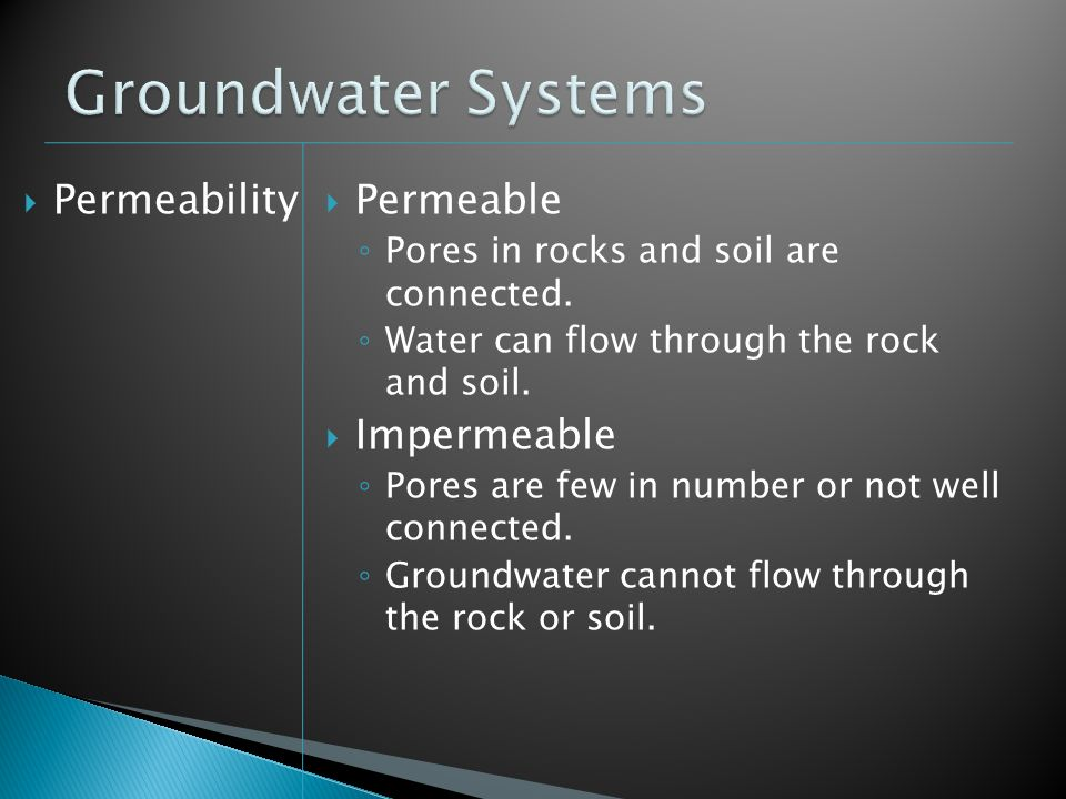Groundwater Systems Permeability Permeable Impermeable