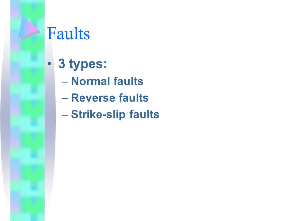 Faults 3 types: Normal faults Reverse faults Strike-slip faults
