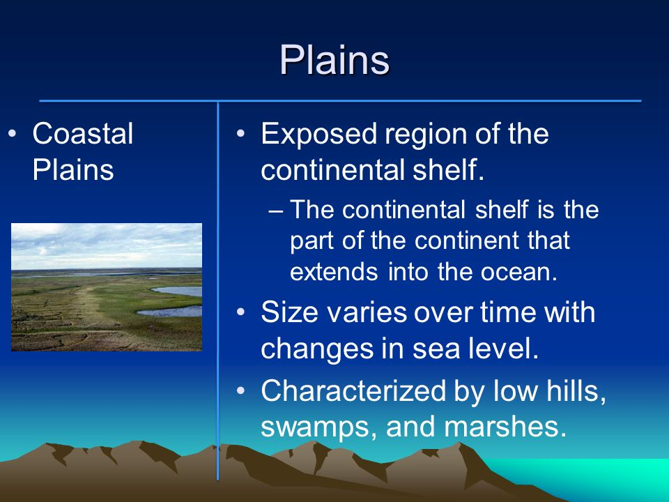 Plains Coastal Plains Exposed region of the continental shelf.