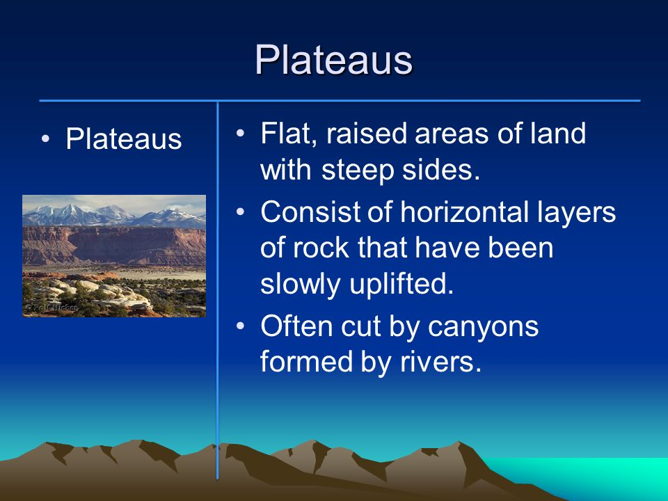 Plateaus Flat, raised areas of land with steep sides. Plateaus