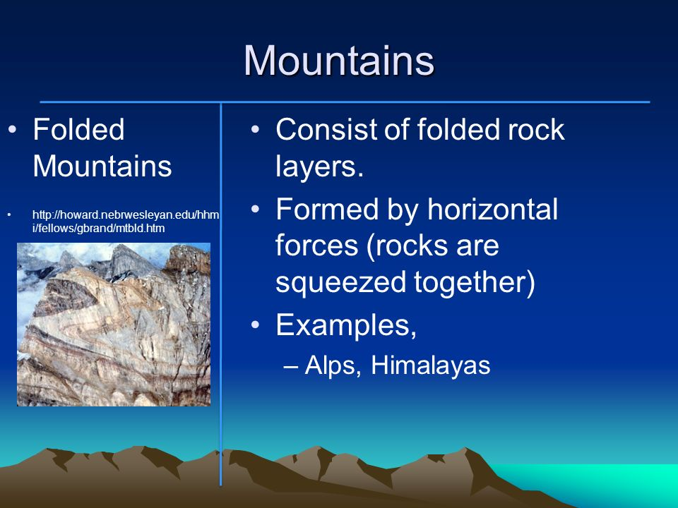 Mountains Folded Mountains Consist of folded rock layers.