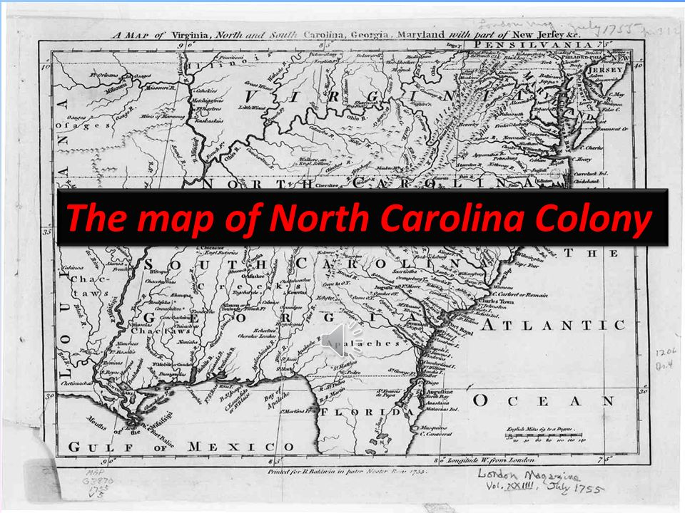 The map of North Carolina Colony