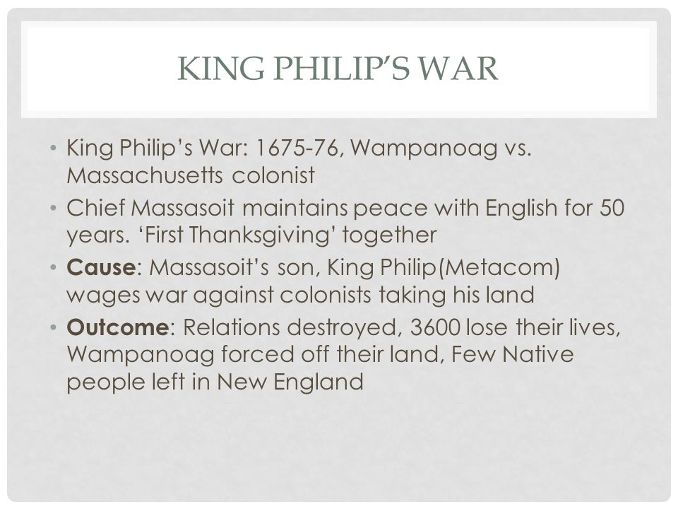 what were some of the causes of king philips war