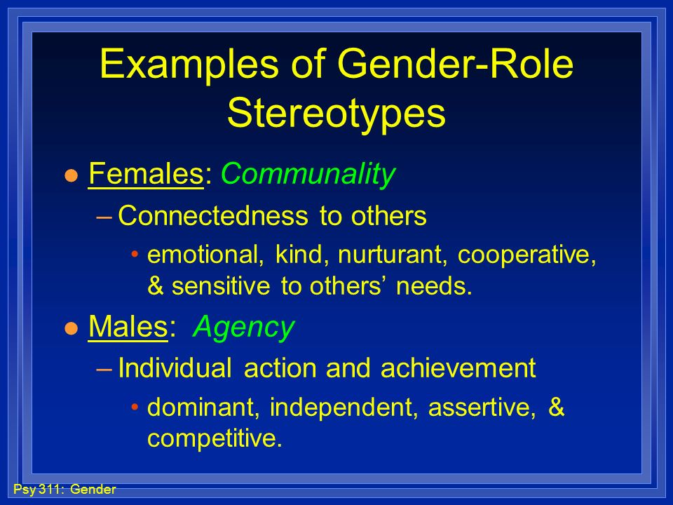Examples of Gender-Role Stereotypes