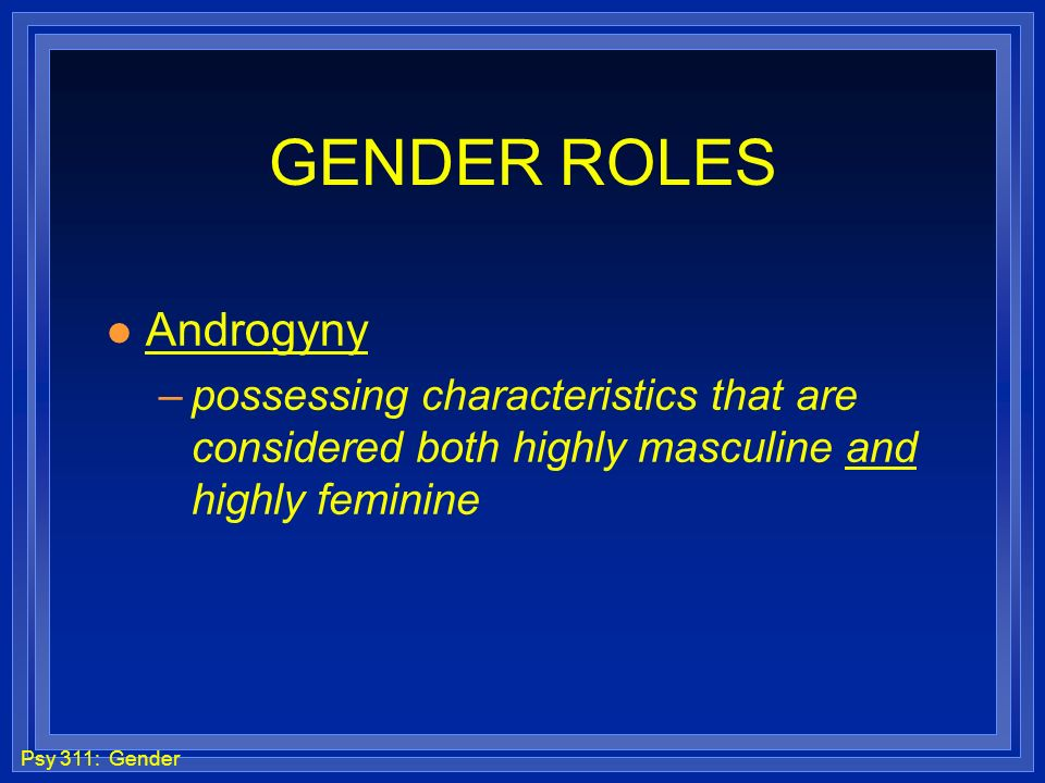 GENDER ROLES Androgyny