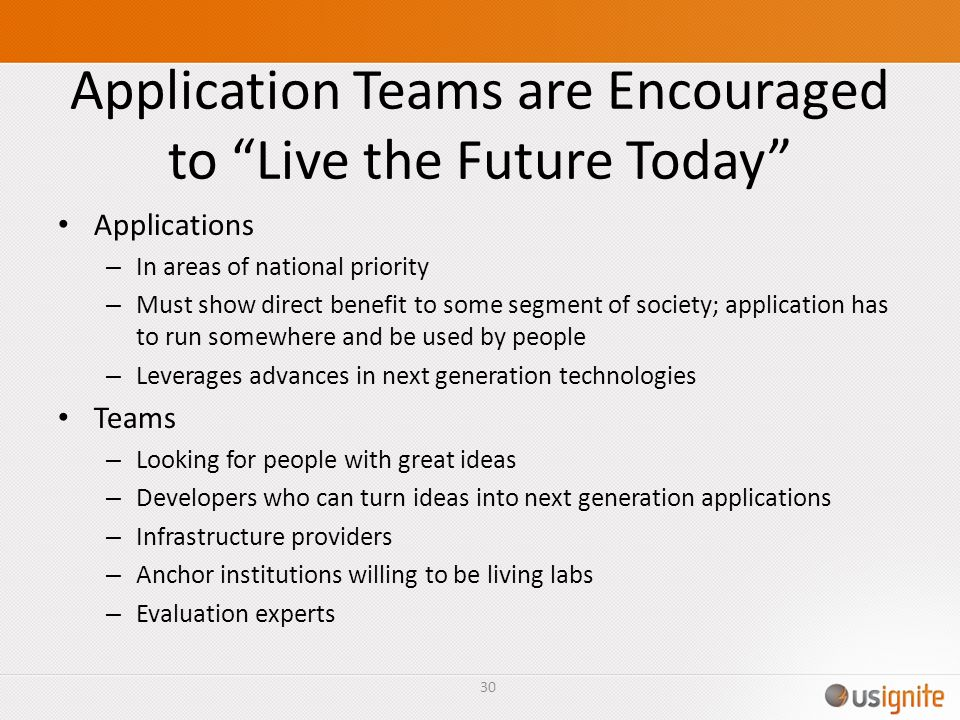 Application Teams are Encouraged to Live the Future Today