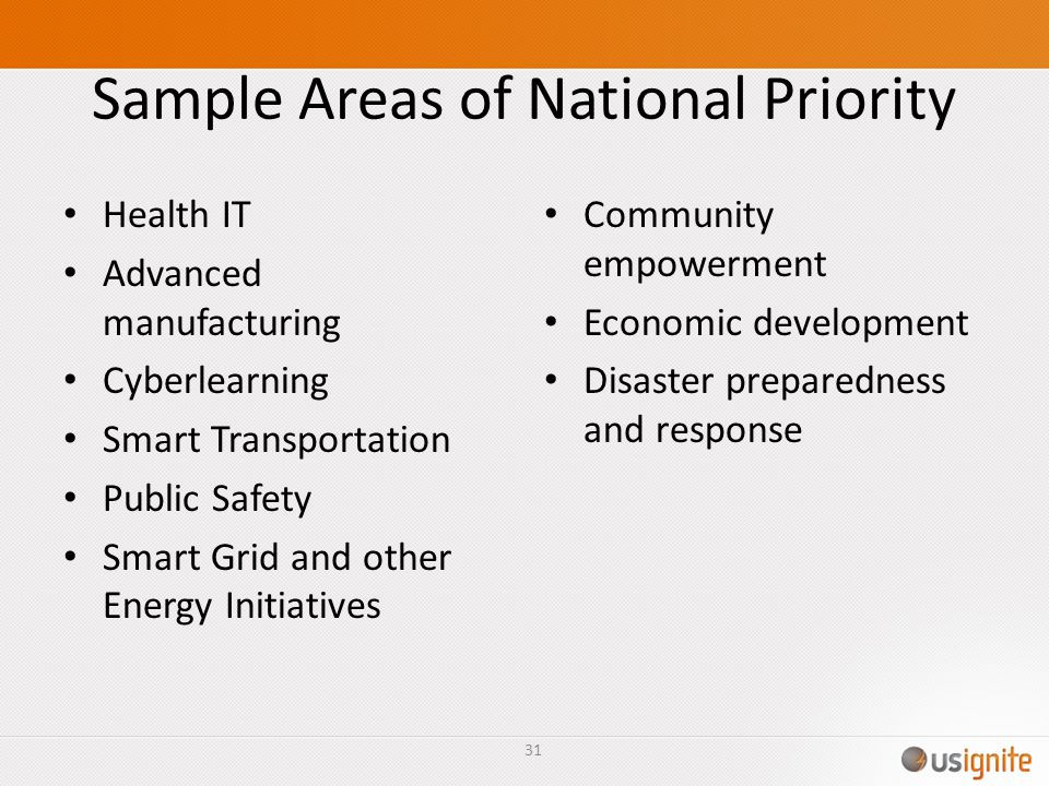 Sample Areas of National Priority