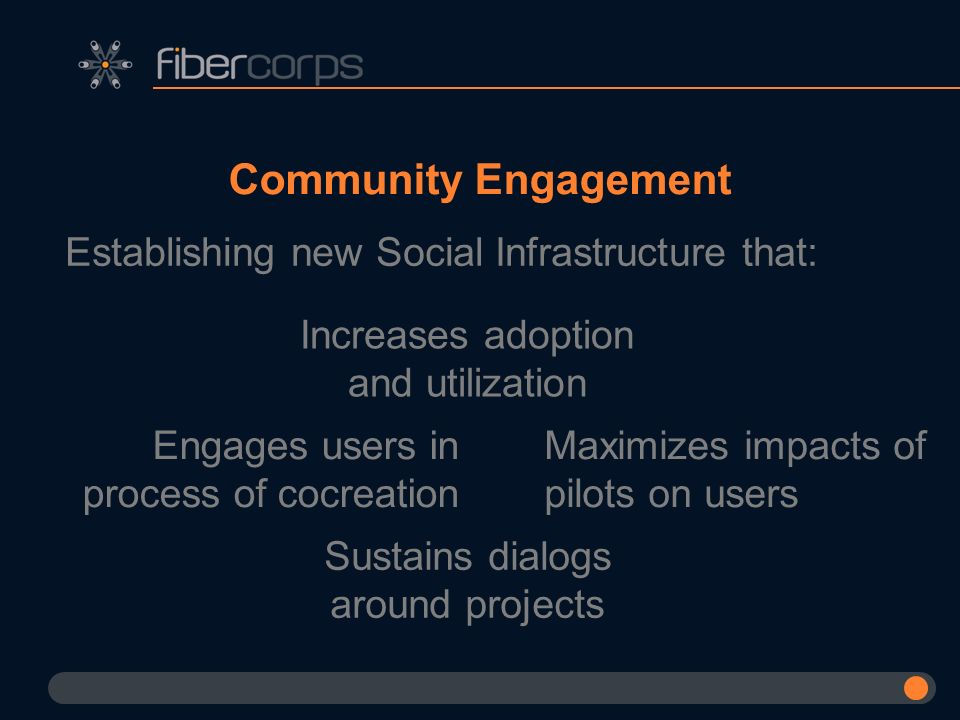 Community Engagement Establishing new Social Infrastructure that: