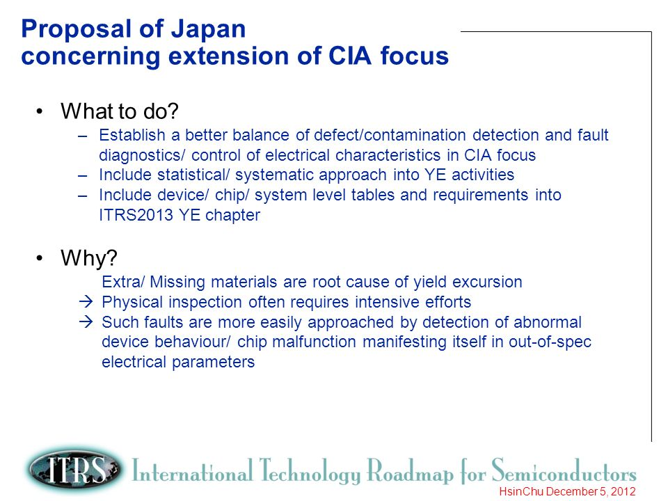 Proposal of Japan concerning extension of CIA focus
