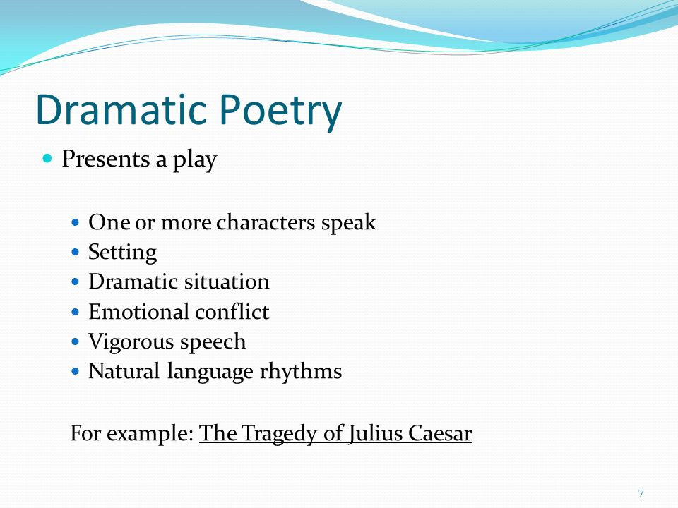 dramatic poetry tragedy examples
