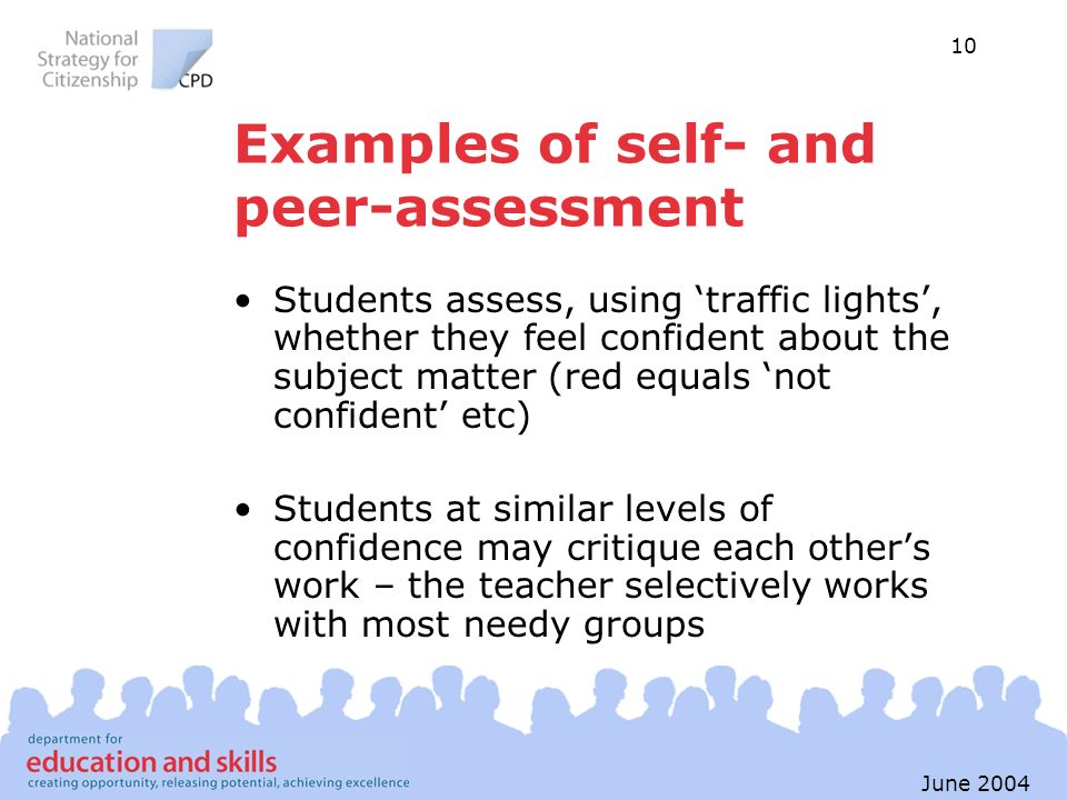 Examples of self- and peer-assessment
