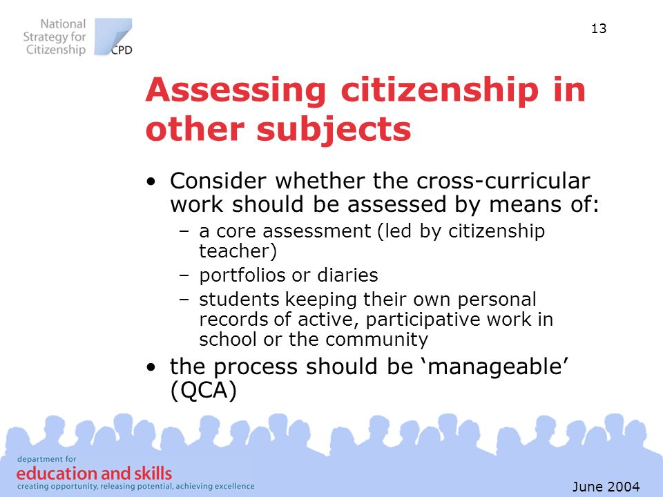 Assessing citizenship in other subjects