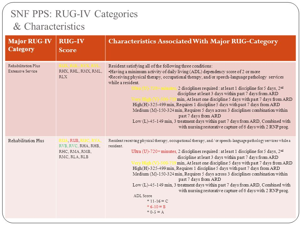 Snf Pps Rug Iv Categories Characteristics