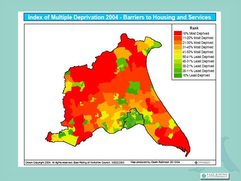 So we have some services in place, we have coordinators to do your legwork, but you still have the significant challenge of working in a rural area. You know this map, which shows how much of the county is in the lowest 20% of the country because of lack of services. I have to tell you that it makes quite an impact when I show it, as I always do, when I am speaking out of county.