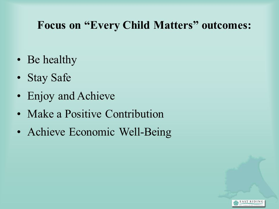 Focus on Every Child Matters outcomes: