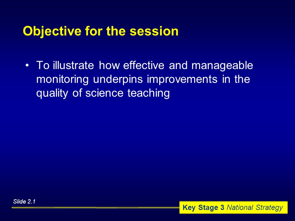Objective for the session