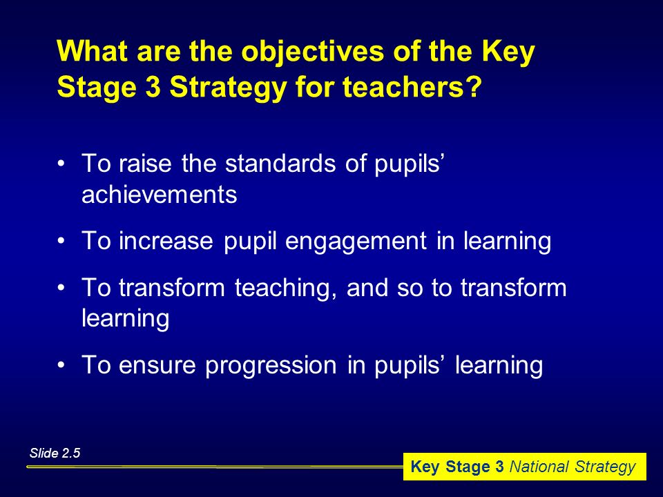 What are the objectives of the Key Stage 3 Strategy for teachers