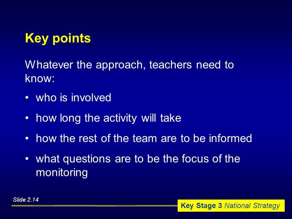Key points Whatever the approach, teachers need to know: