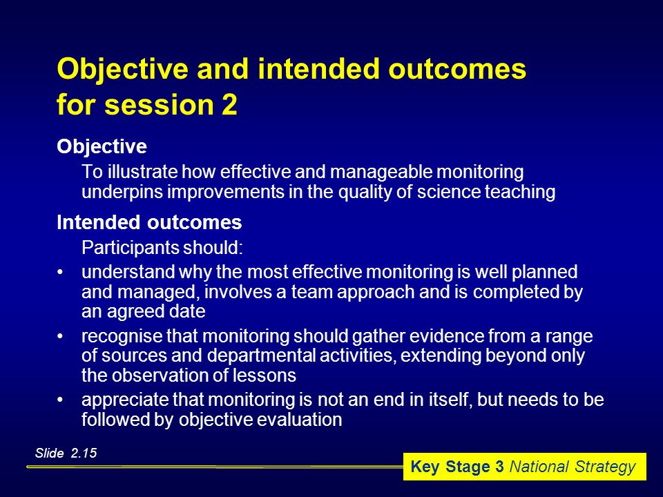 Objective and intended outcomes for session 2