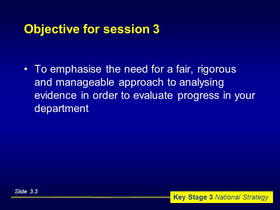 Objective for session 3