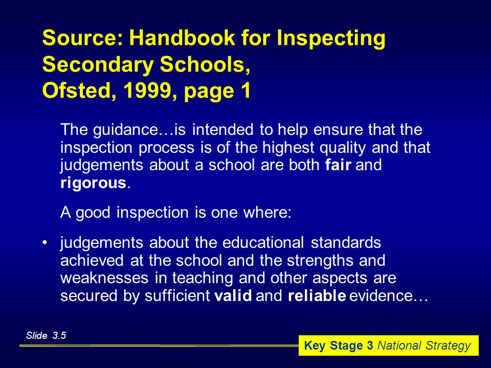 Source: Handbook for Inspecting Secondary Schools, Ofsted, 1999, page 1