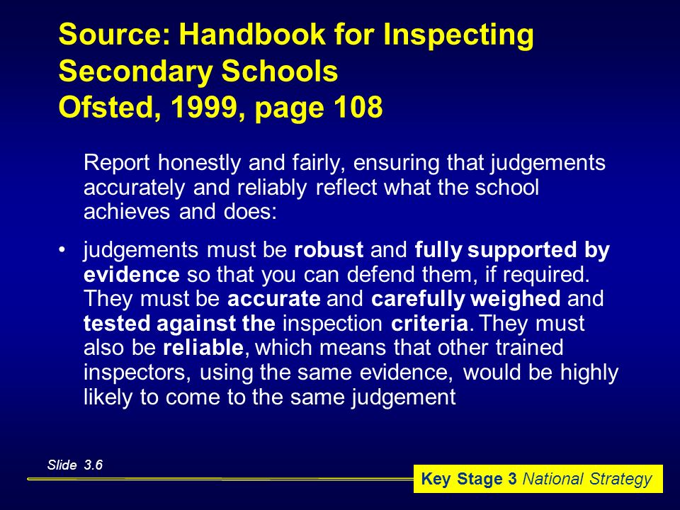 Source: Handbook for Inspecting Secondary Schools Ofsted, 1999, page 108