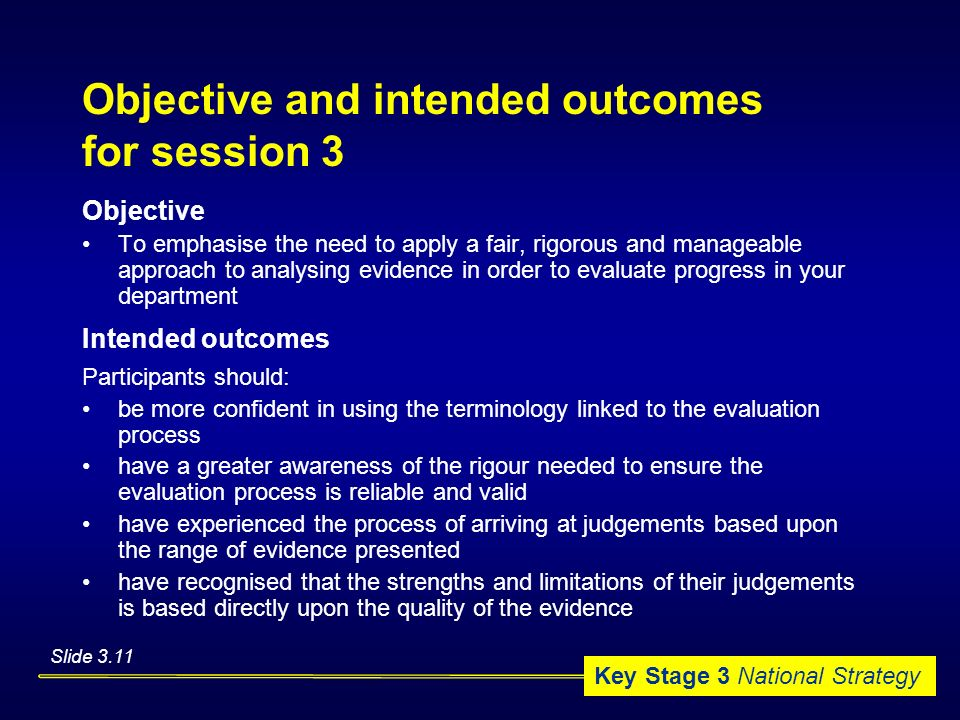 Objective and intended outcomes for session 3