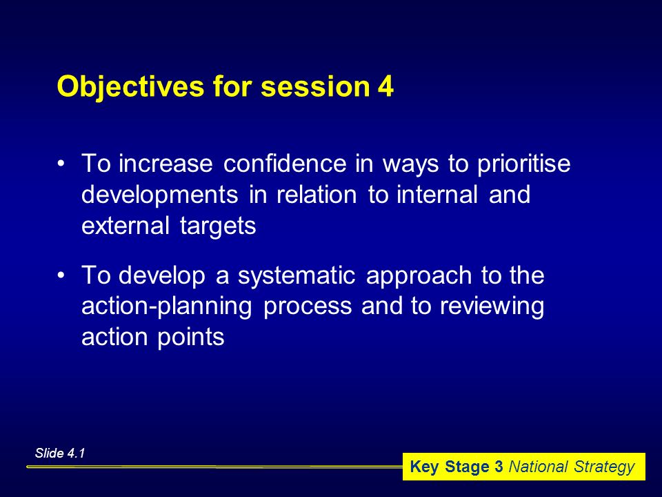 Objectives for session 4