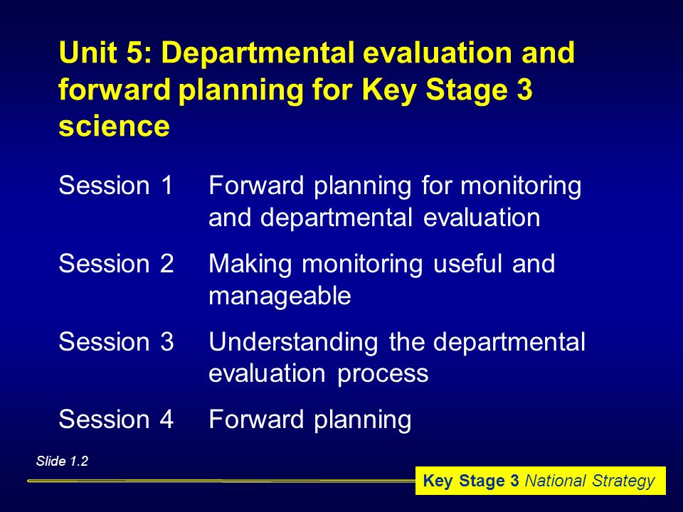 Unit 5: Departmental evaluation and forward planning for Key Stage 3 science