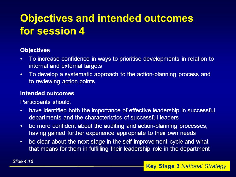 Objectives and intended outcomes for session 4