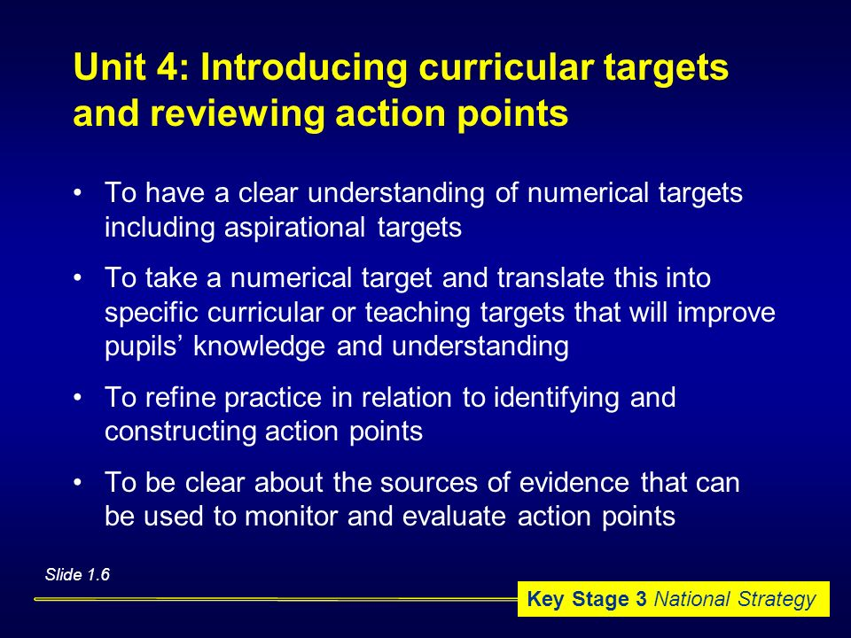 Unit 4: Introducing curricular targets and reviewing action points