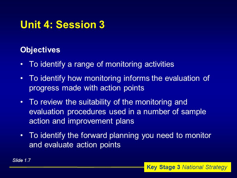 Unit 4: Session 3 Objectives
