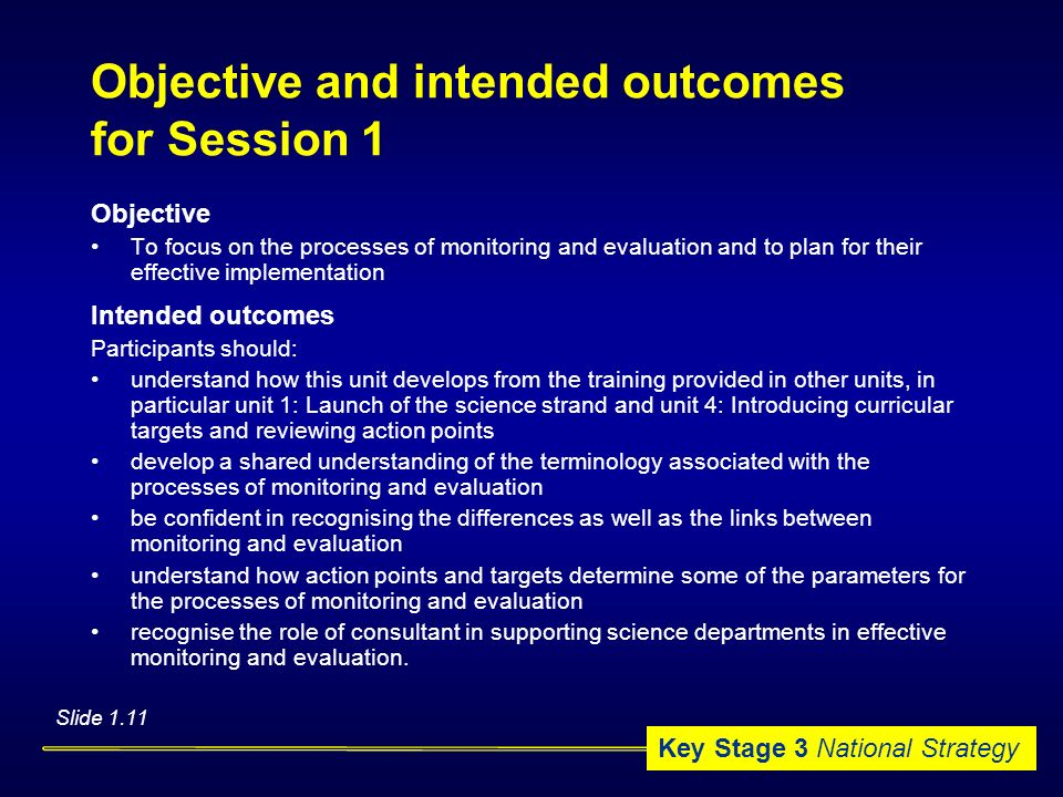 Objective and intended outcomes for Session 1